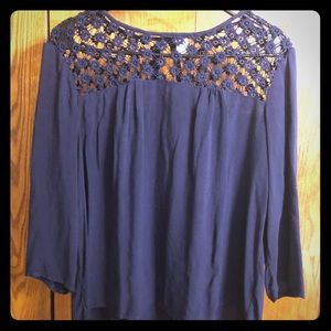 Navy blouse with lace